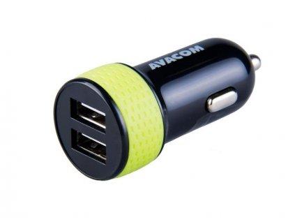 Avacom nabíječka do auta s dvěma USB výstupy 5V/1A - 3,1A, černo-zelená