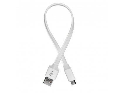 ColorWay USB - Micro USB kabel 25cm, plochý, bílá