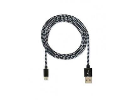CUBE1 nylon datový kabel USB > microUSB, 2m, Black