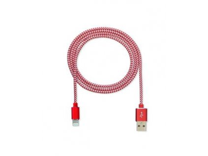 CUBE1 nylon datový kabel USB > Lightning, 2m, Red
