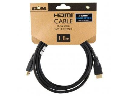 4World kabel HDMI High Speed s Ethernet (v1.4), 1.8m