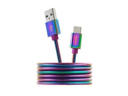 CANYON kabel USB C/USB A 2.0, kovový plášť, délka 1,2 m CNS-USBC7RW