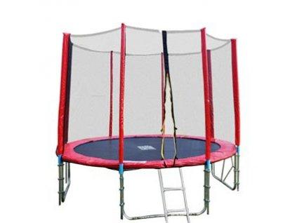 GoodJump 4UPVC červená trampolína 305 cm s ochrannou sítí + žebřík + krycí plachta