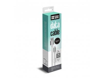 ColorWay USB - USB-C kabel 25cm, plochý, bílá