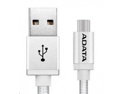 Adata USB kabel A-B micro 1m, pletený, stříbrný