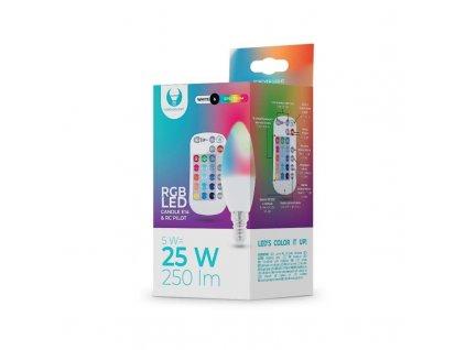LED žárovka Forever E14 C37 RGB 5W s dálkovým ovládáním bílá