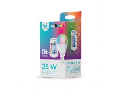 LED žárovka Forever E14 G45 RGB 5W s dálkovým ovládáním bílá