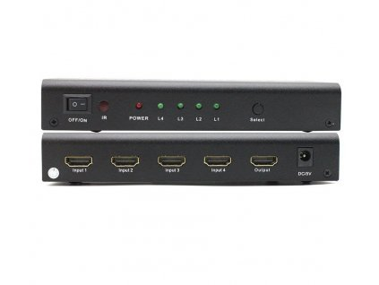 PremiumCord HDMI switch 4:1 s audio výstupy ( stereo, Toslink, coaxial )