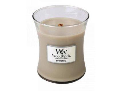 WoodWick oválná váza Wood smoke 275g