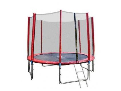GoodJump 4UPVC červená trampolína 366 cm s ochrannou sítí + žebřík + krycí plachta