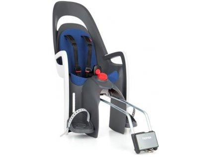 dětská sedačka HAMAX CARESS polohovací s uzamykatelným zámkem - šedá/bílá/modrá