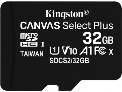 Kingston micro SDHC 32GB Canvas Select Plus A1 C10 Card (rychlost až 100 MB/s) bez adaptéru