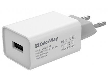 ColorWay AC nabíječka 1xUSB 10W, bílá