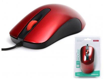 Omega optická myš OM0520R, 1000 DPI, červená