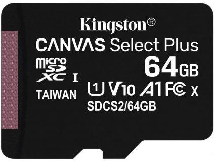 KINGSTON micro SDXC 64GB Canvas Select Plus A1 C10 Card (rychlost až 100 MB/s) + bez adaptéru