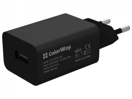 ColorWay AC nabíječka 1xUSB 10W, černá