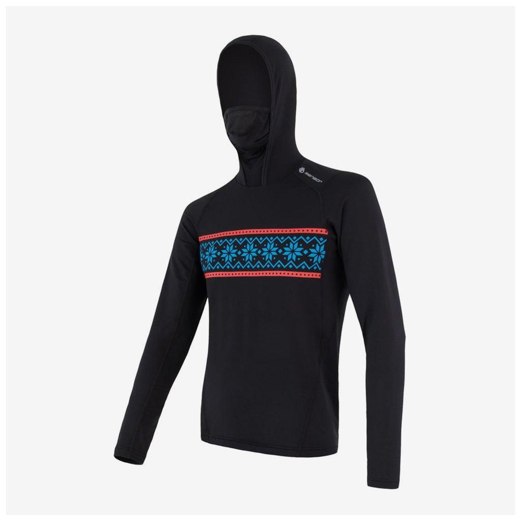 Pánské tričko Thermo l/sl s kapucí - černé