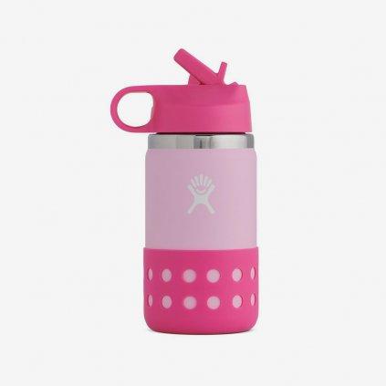 Láhev Hydro Flask 12 OZ KIDS WIDE MOUTH STRAW LID - růžová