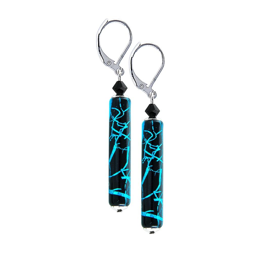 Dlouhé náušnice Turquoise Shards s ryzím stříbrem v perle Lampglas