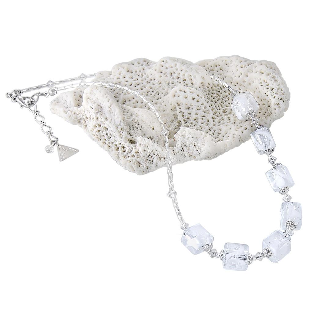 Křišťálový náhrdelník White Cubes s ryzím stříbrem v perlách Lampglas