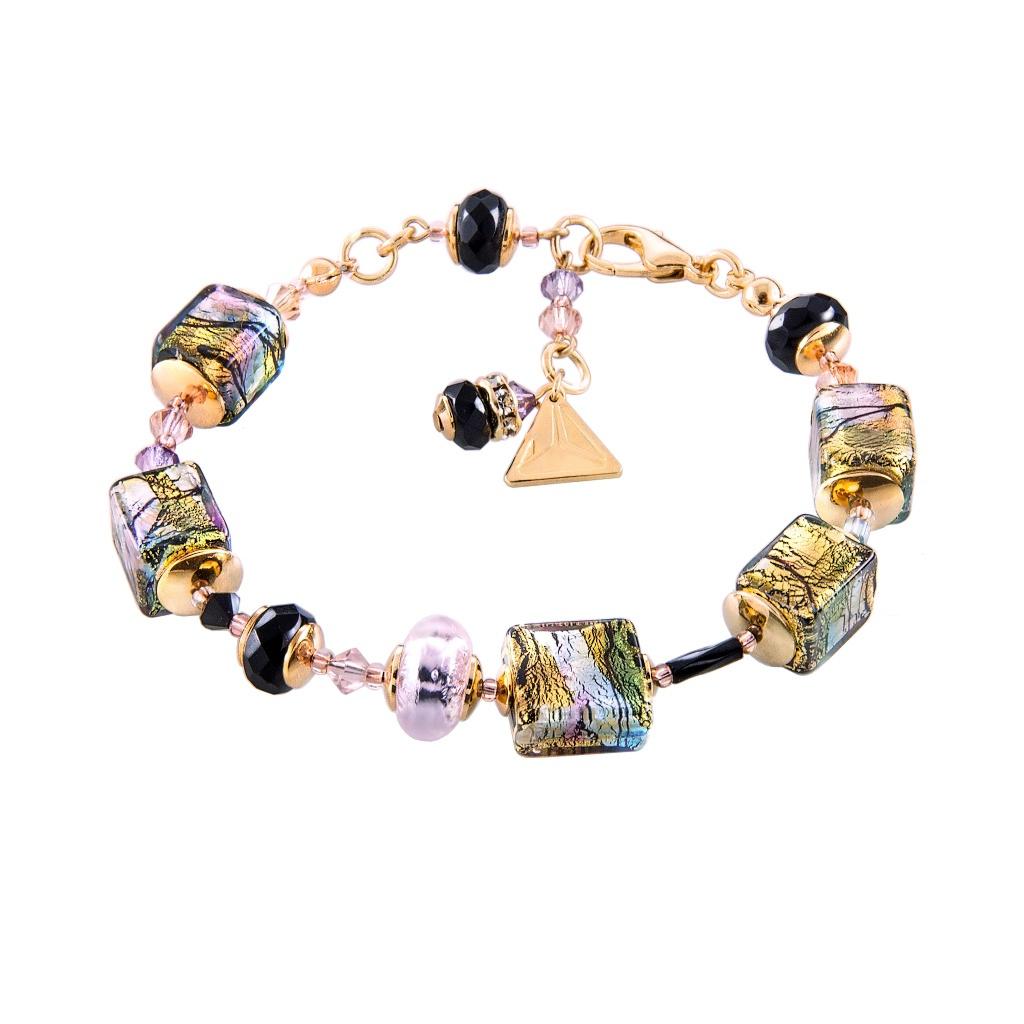 Mysteriózní náramek Gold Cubes s 24karátovým zlatem a ryzím stříbrem v perlách Lampglas