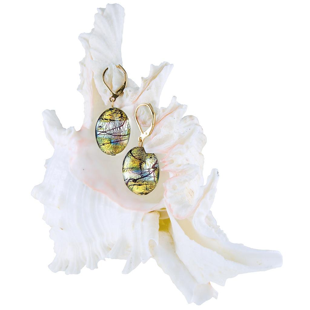 Mysteriózní náušnice Gold Fantasy s 24karátovým zlatem a ryzím stříbrem v perlách Lampglas