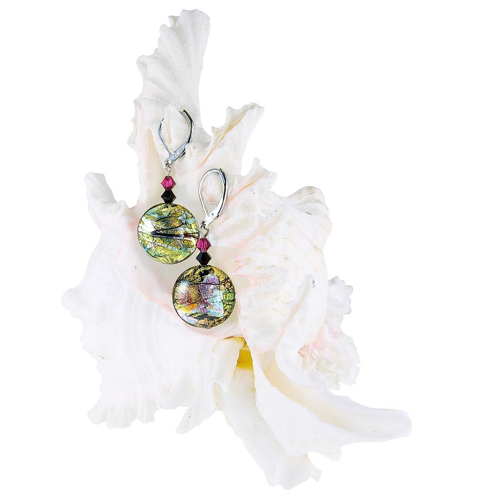 Luxusní náušnice Sweet Candy s 24karátovým zlatem a ryzím stříbrem v perlách Lampglas