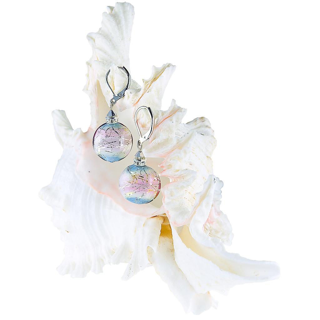 Náušnice Pastel Dream s ryzím stříbrem v perle Lampglas