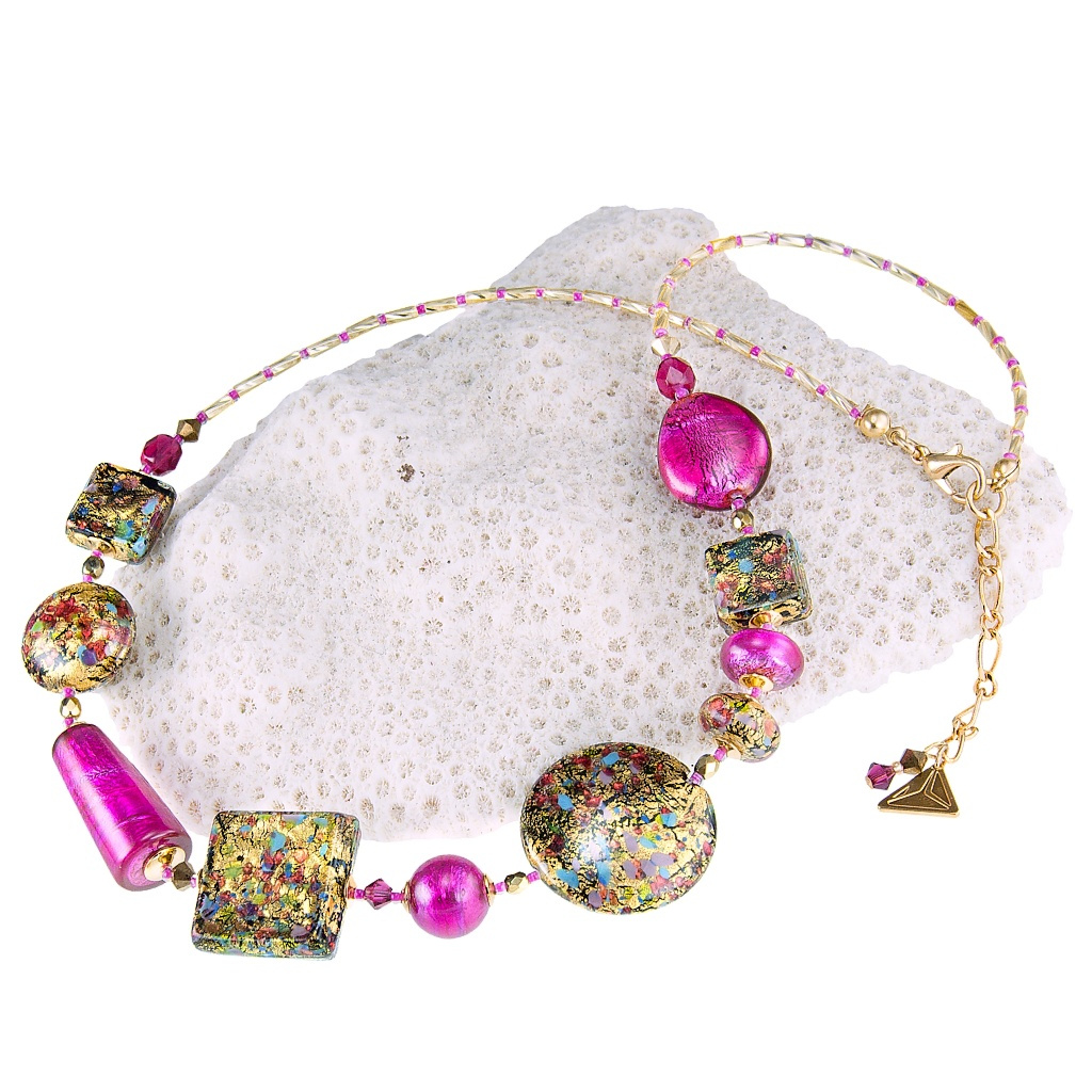 Náhrdelník Mysterious Beauty s 24karátovým zlatem a ryzím stříbrem v perlách Lampglas
