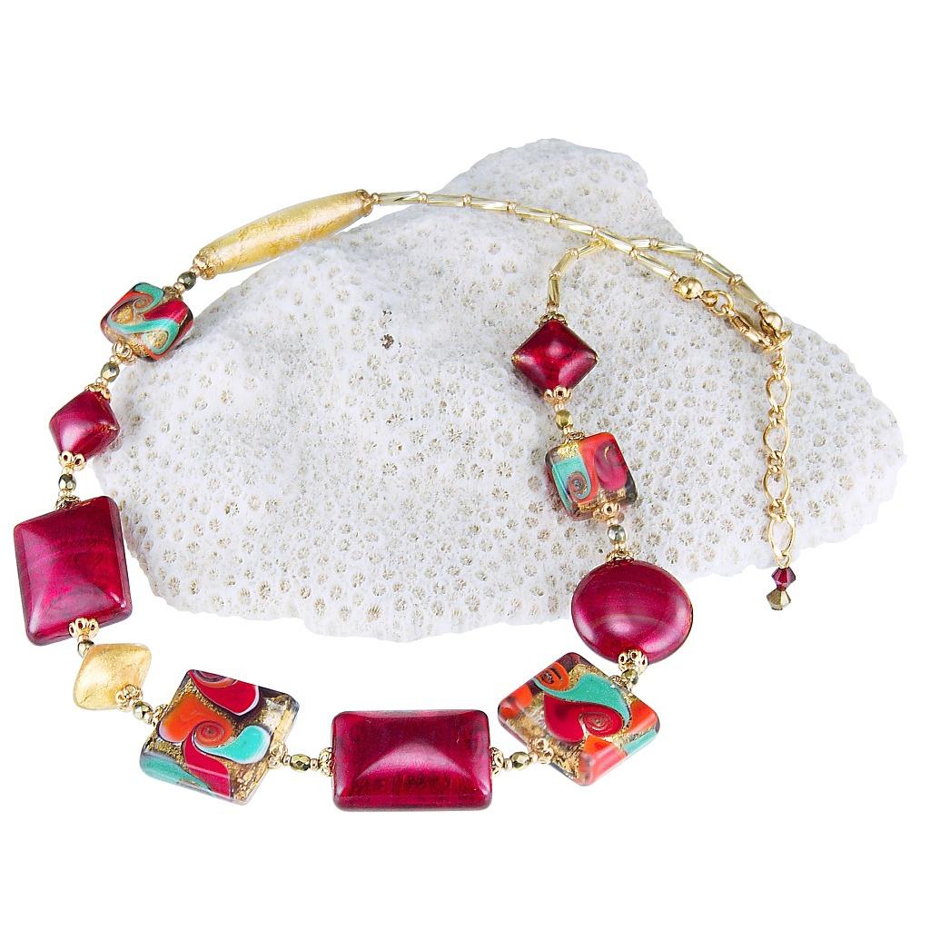 Skvostný náhrdelník Indian Summer s 24karátovým zlatem v perlách Lampglas