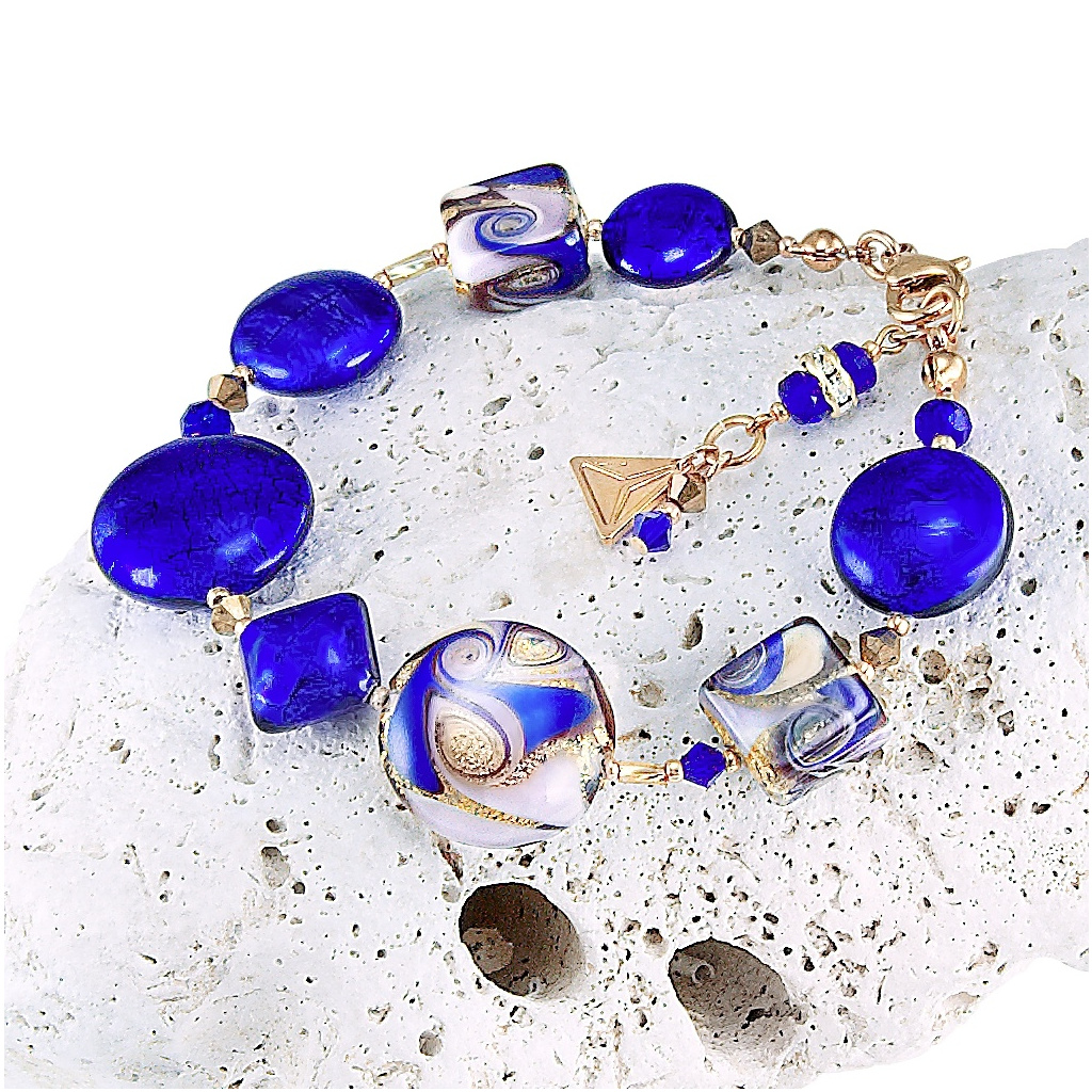Náramek Gold Blue s 24karátovým zlatem a ryzím stříbrem v perlách Lampglas