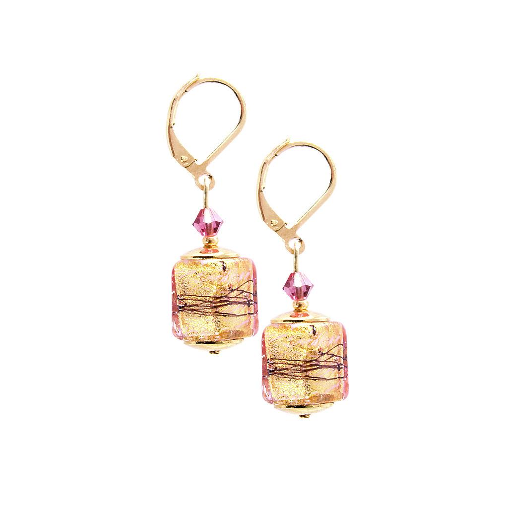 Náušnice Glowing Desert s 24karátovým zlatem v perlách Lampglas