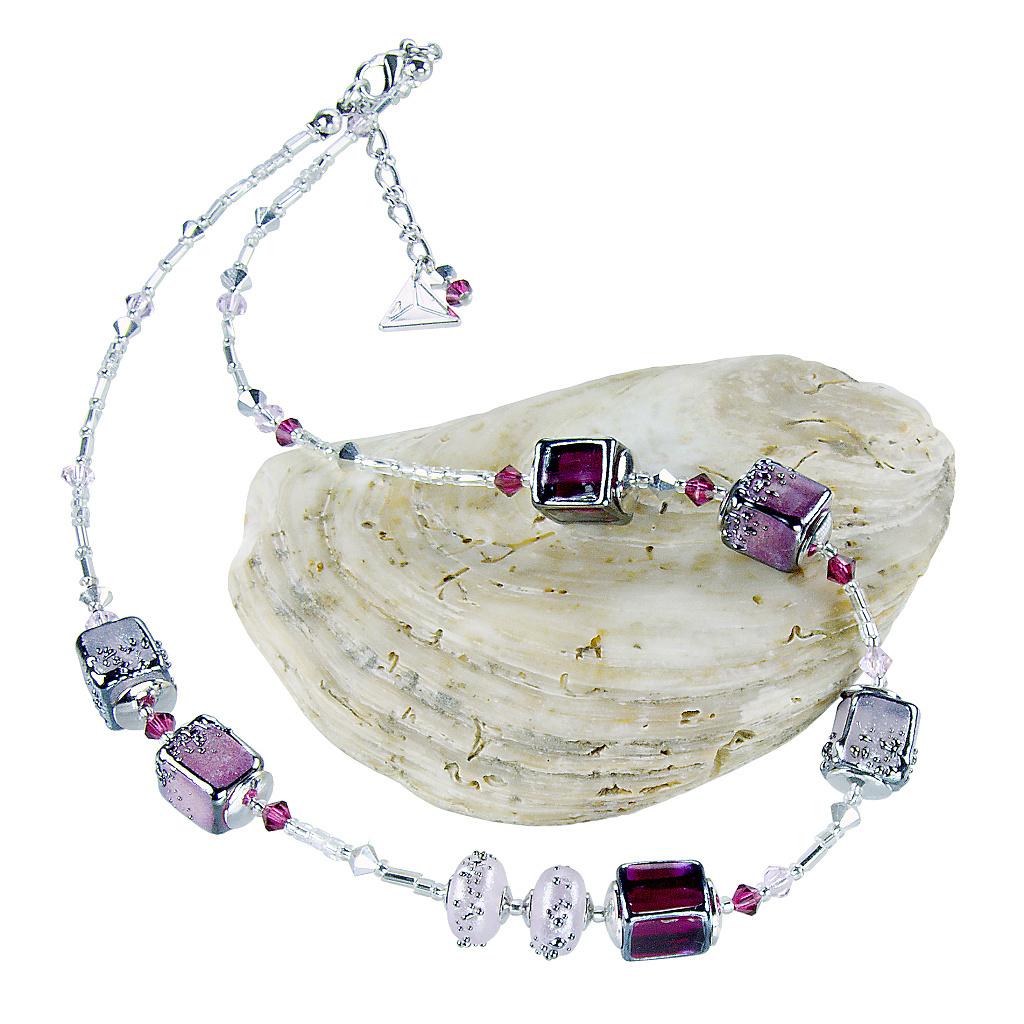 Náhrdelník Juicy Raspberry z perel Lampglas