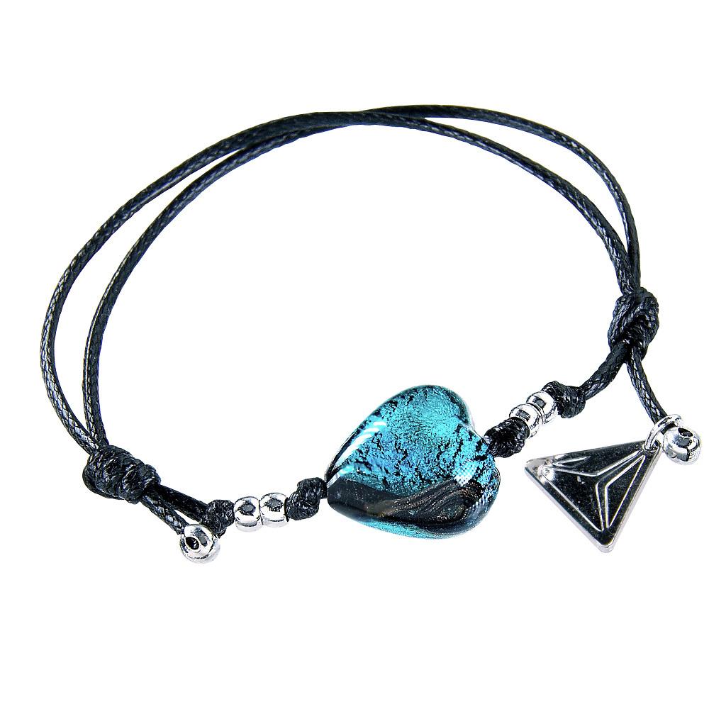 Náramek Turquoise Heart s ryzím stříbrem v perle Lampglas