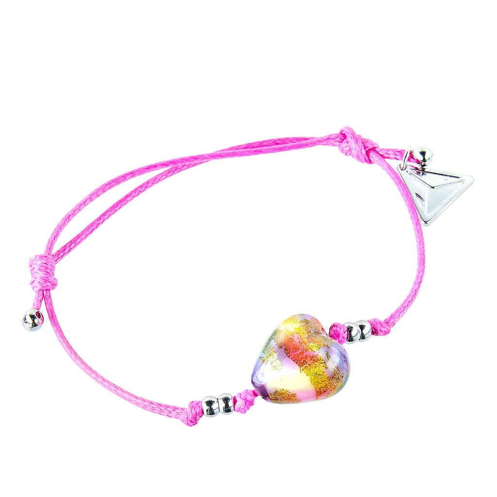 Náramek Pink Candy s 24karátovým zlatem v perle Lampglas