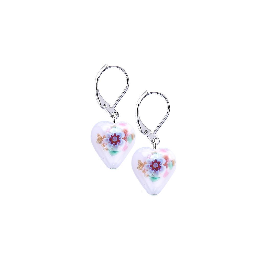 Náušnice Pink Flower s unikátní kresbou v perlách Lampglas