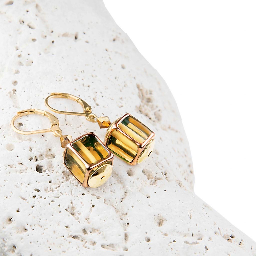 Originální náušnice Glass Gold z perel Lampglas