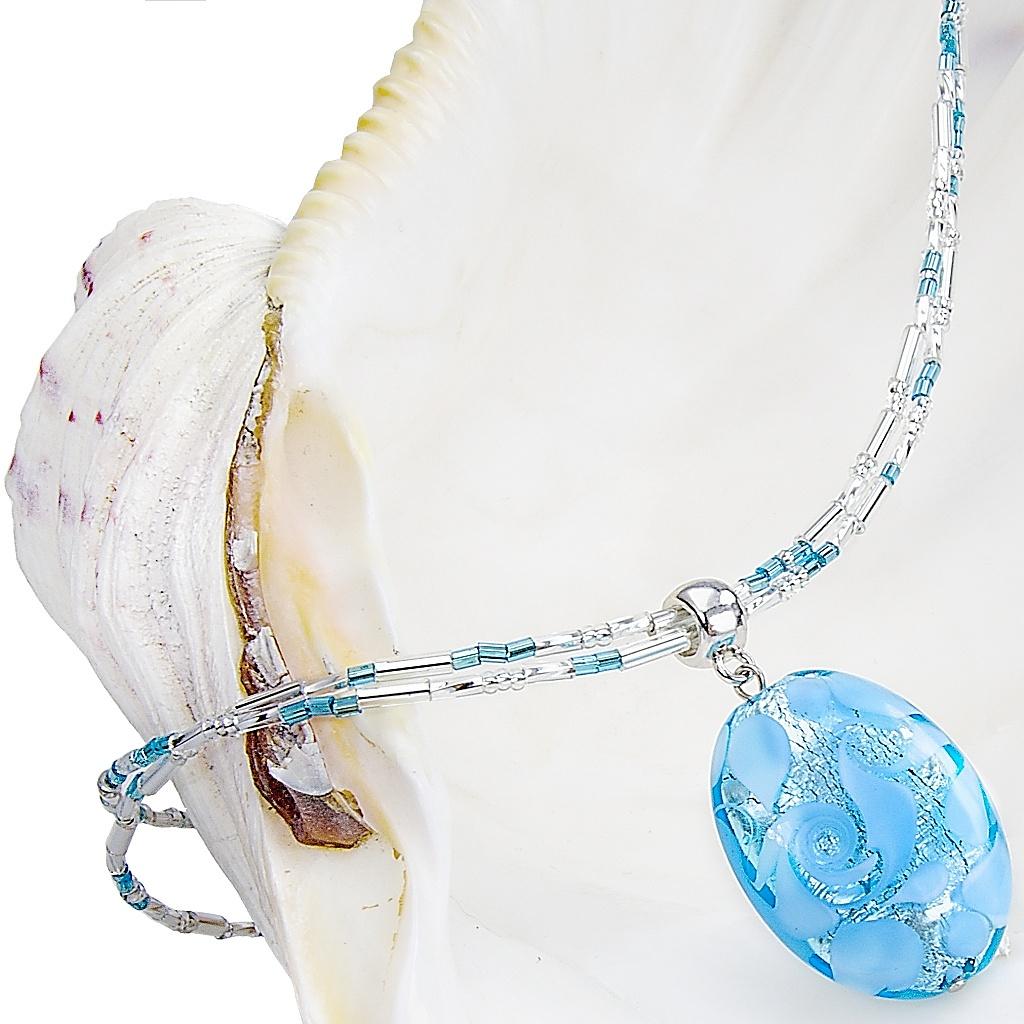 Náhrdelník Blue Lace s perlou Lampglas s ryzím stříbrem