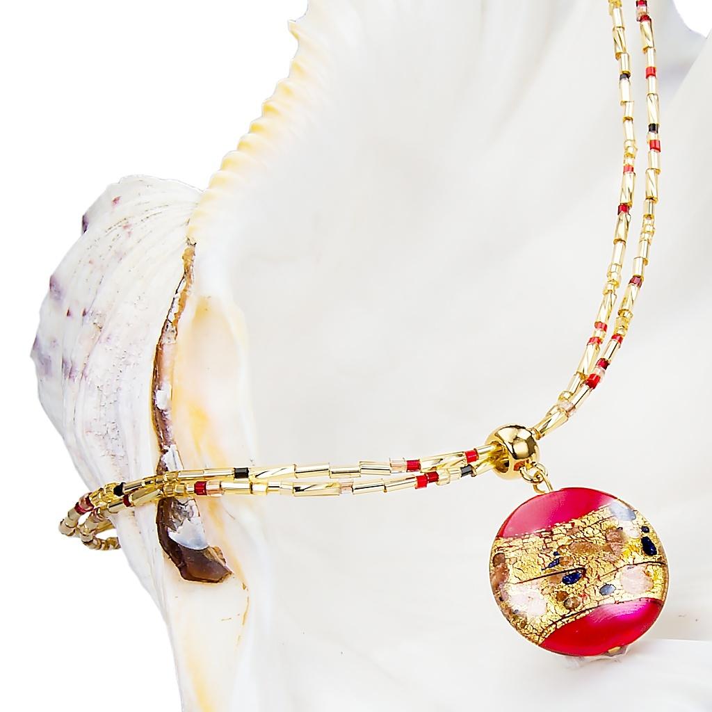 Náhrdelník Red Desire s 24kt zlatem v perle Lampglas