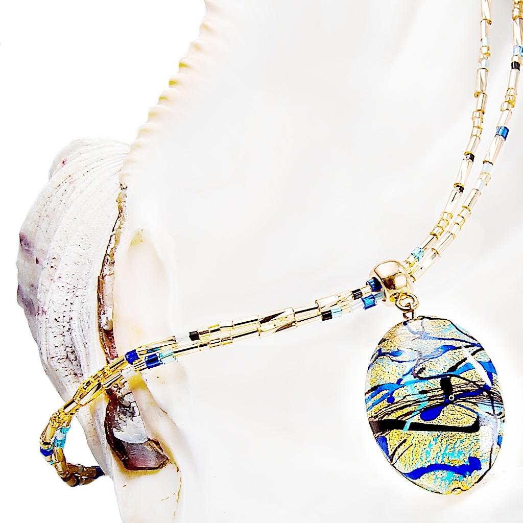 Dámský náhrdelník Blue Spy s 24kt zlatem v perle Lampglas
