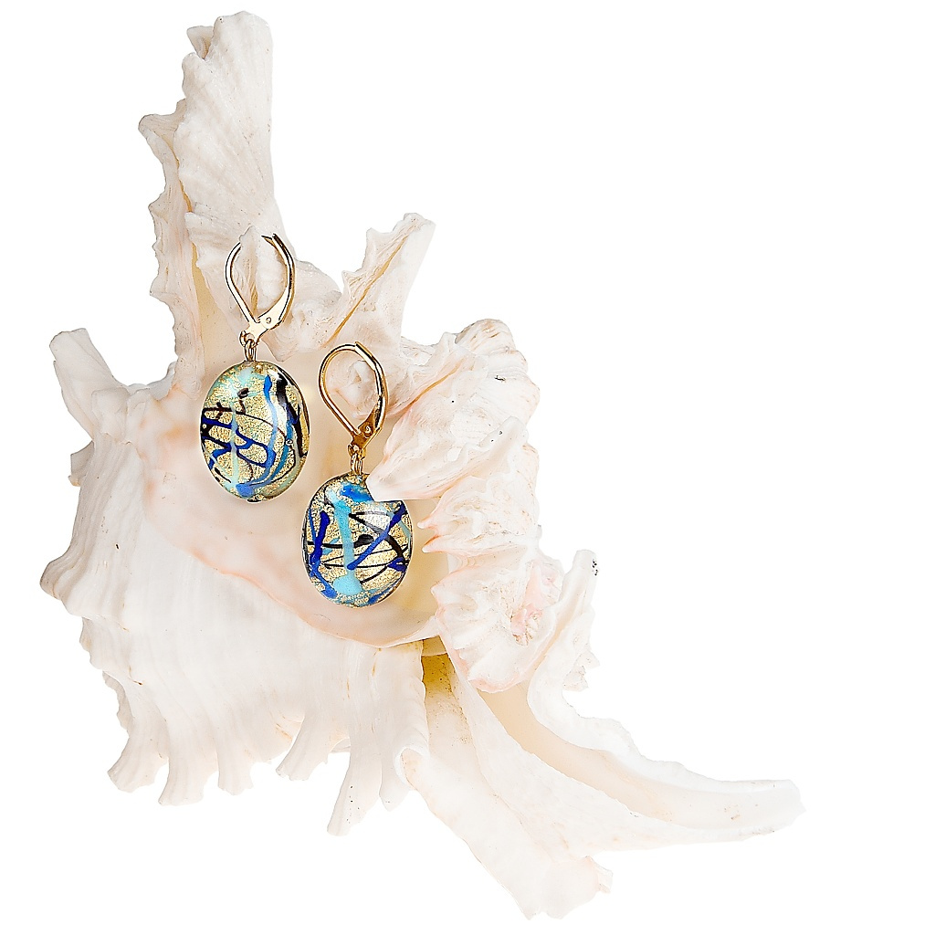384 nausnice z lampovych perel lampglas blue spy