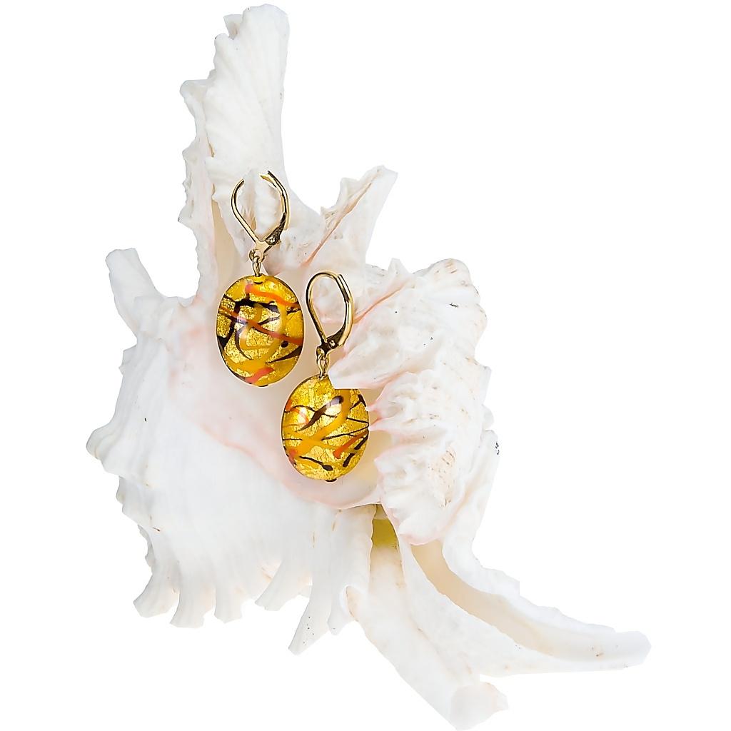 Náušnice Sunny Meadow z perel Lampglas s 24kt zlatem