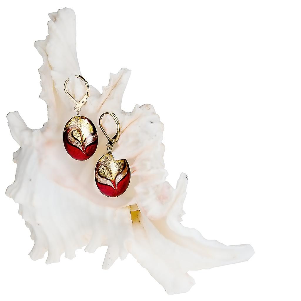Noblesní dámské náušnice Red sea z lampových perel Lampglas