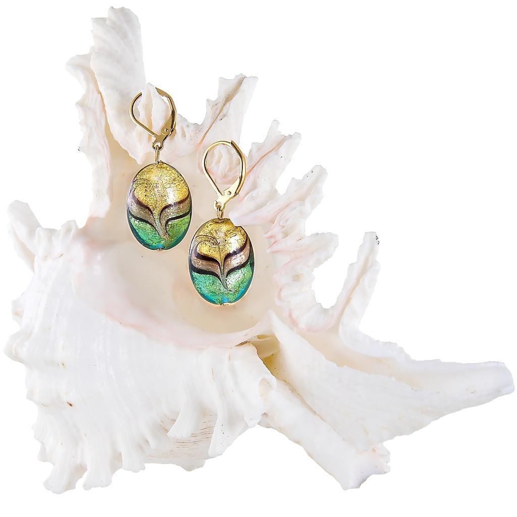 Magické náušnice Green Sea World s 24karátovým zlatem v perlách Lampglas