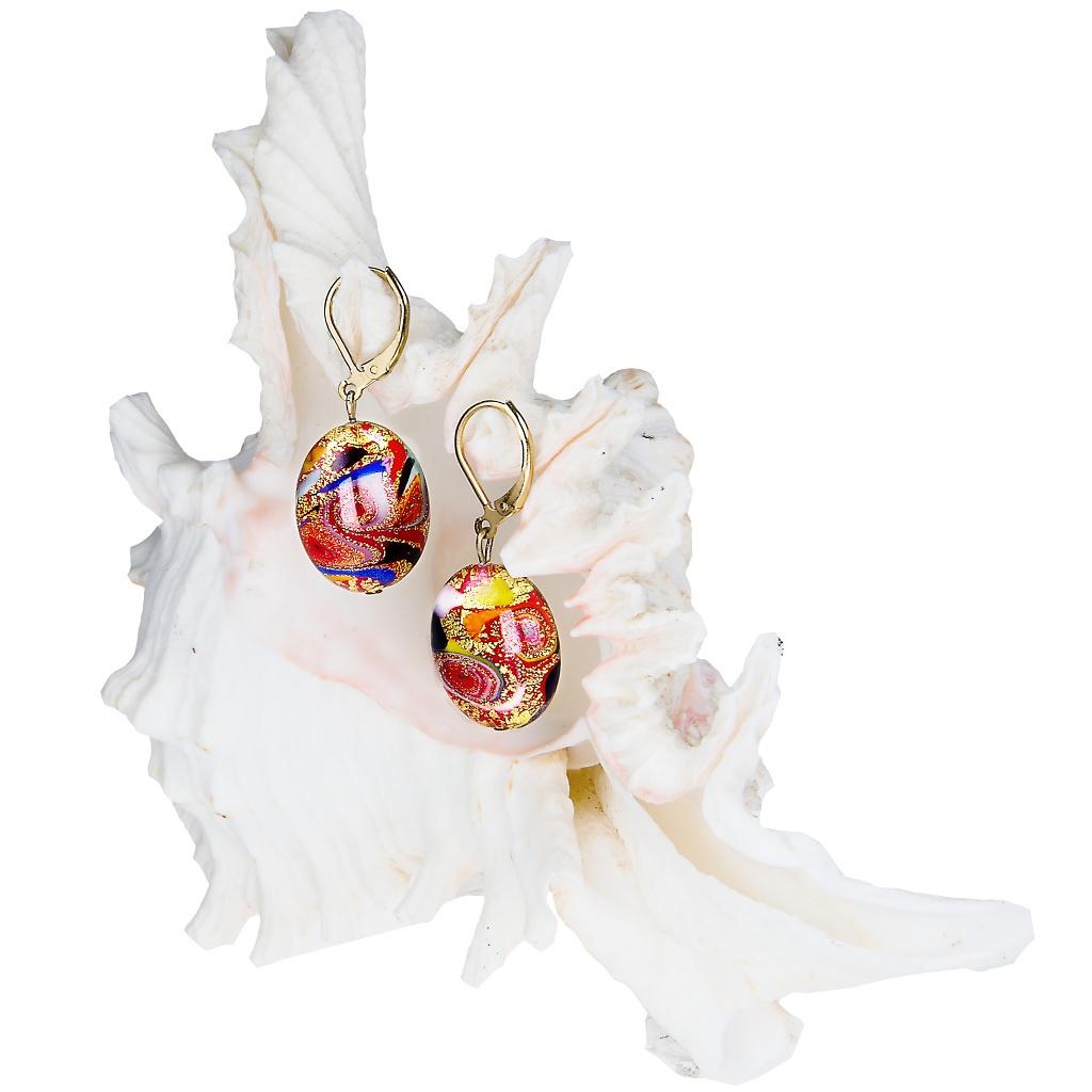Náušnice Crazy Beautiful s 24kt zlatem v perlách Lampglas