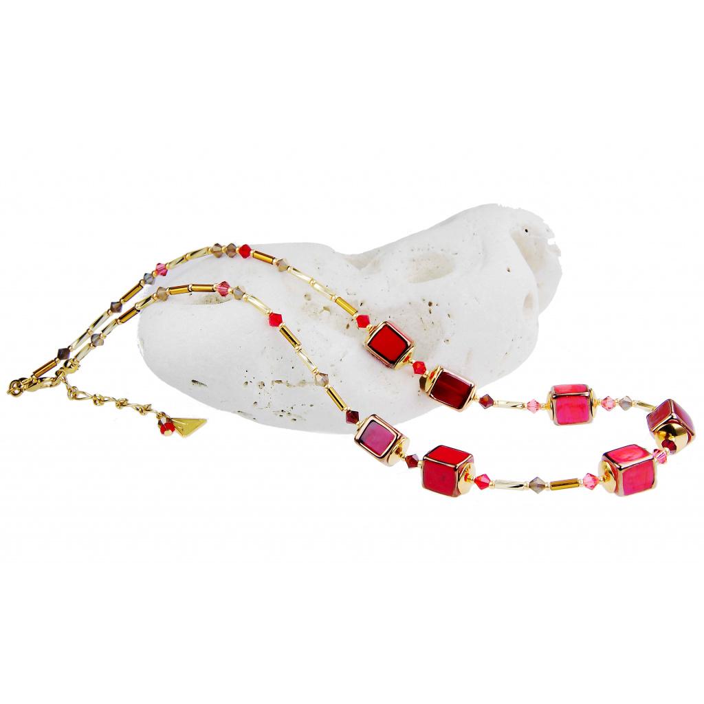 Originální náhrdelník z perel Lampglas Strawberry Cocktail