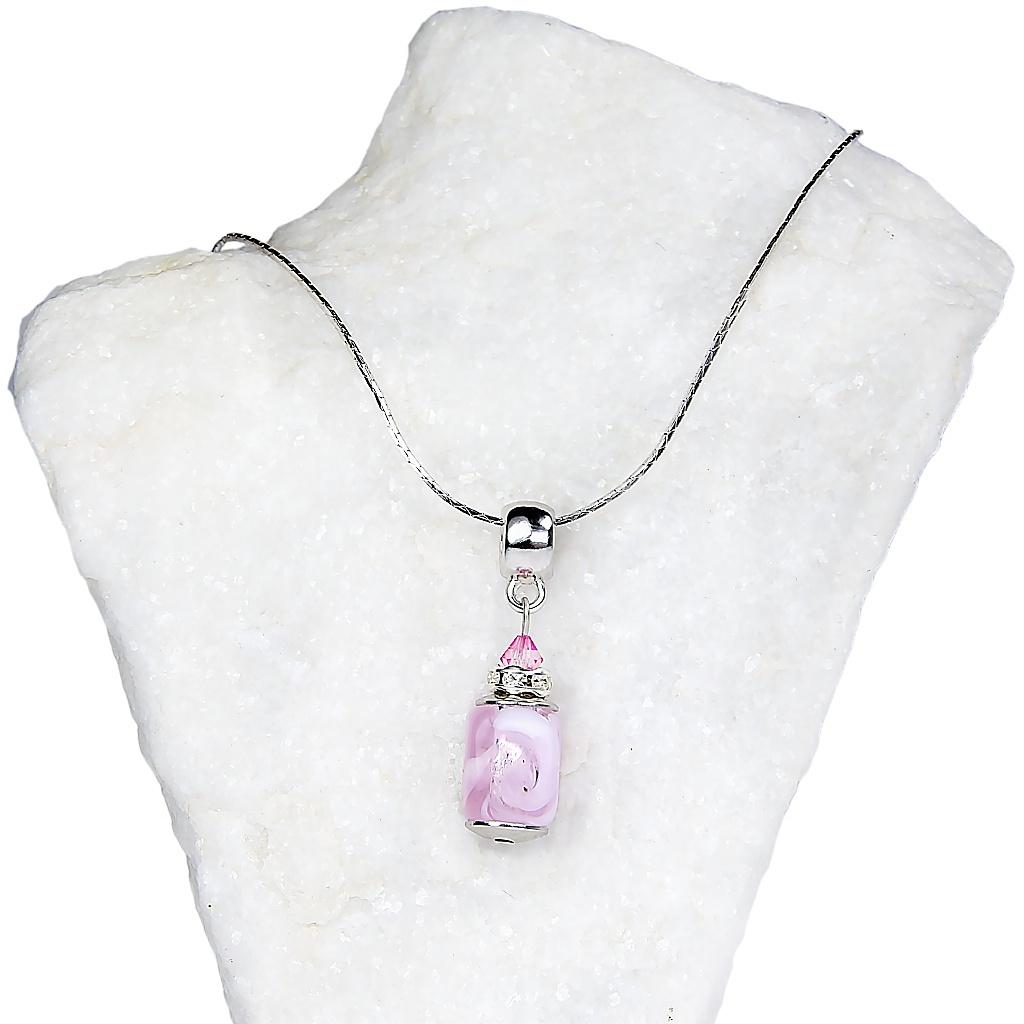 528 nahrdelnik pink cupcake z perly lampglas v ruzove barve