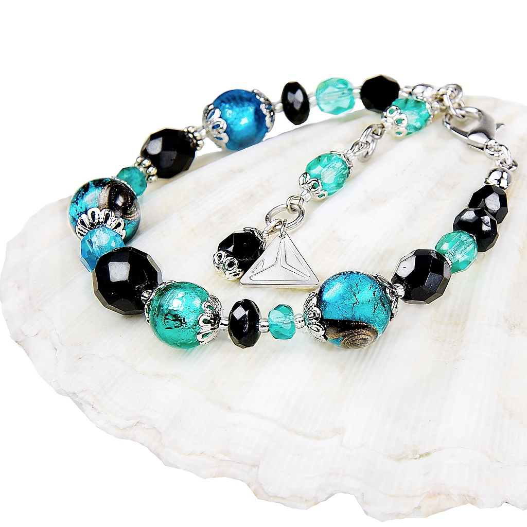 Náramek s perlami Lampglas s ryzím stříbrem Deep Sea