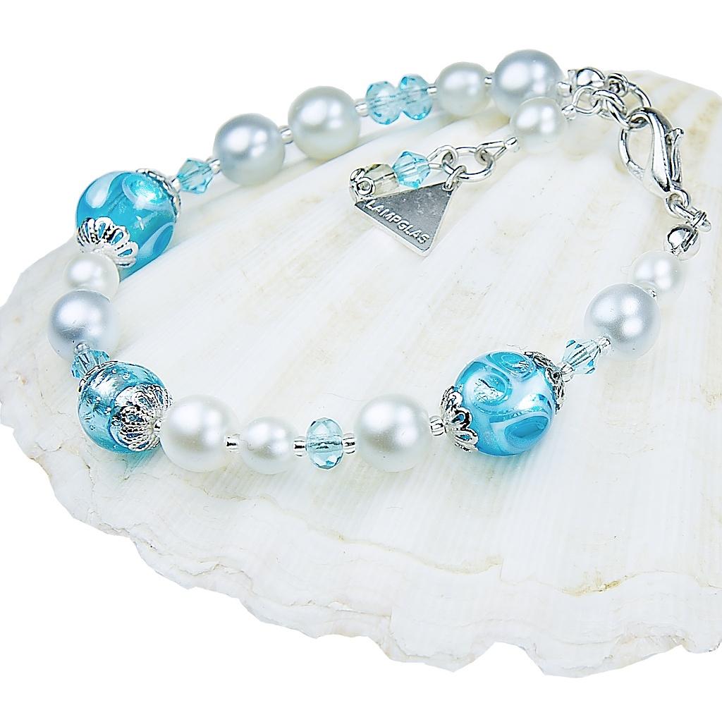 Náramek Blue Lace s perlami Lampglas s ryzím stříbrem