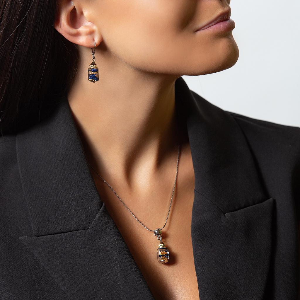 Dámský náhrdelník Queen of the Night z lampových perel Lampglas